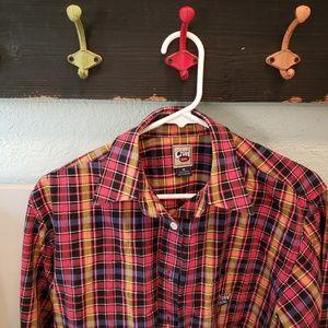 FLAW Cruel Girl Western Plaid Cowgirl Shirt sz M